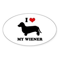 I love my wiener Oval Decal