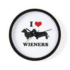 I love my wieners Wall Clock