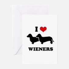I love my wieners Greeting Cards (Pk of 10)