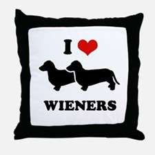 I love my wieners Throw Pillow