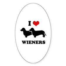 I love my wieners Oval Decal
