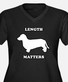 Length matters Women's Plus Size V-Neck Dark T-Shi