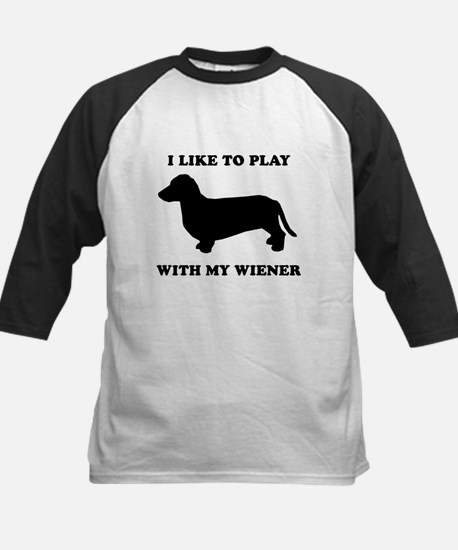 I like to play with my wiener Kids Baseball Jersey