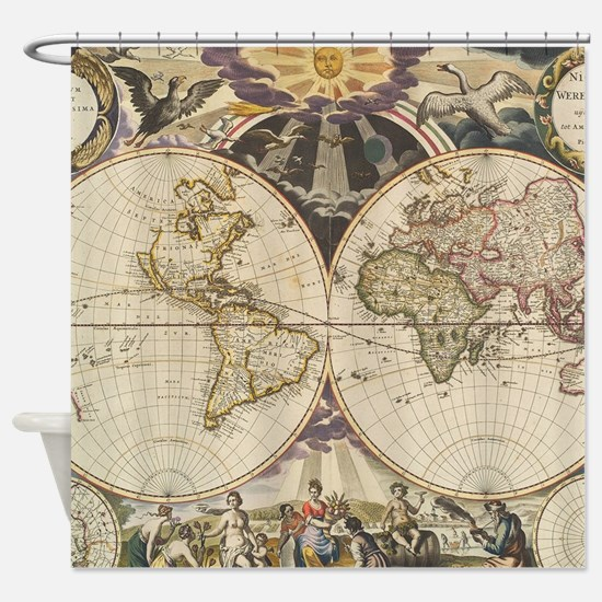Vintage Map of The World (1668) Shower Curtain