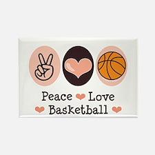 Peace Love Basketball Rectangle Magnet