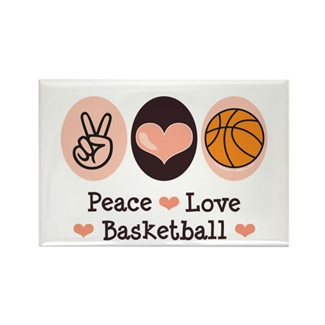 Peace Love Basketball Rectangle Magnet (100 pack)