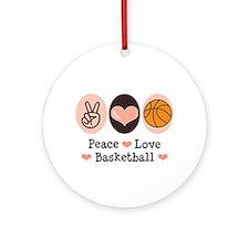 Peace Love Basketball Ornament (Round)