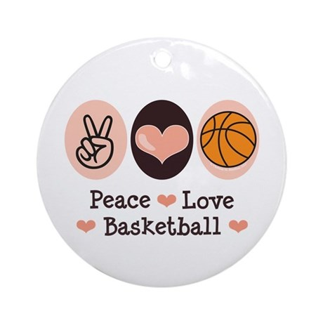 Peace Love Basketball Ornament (Round)