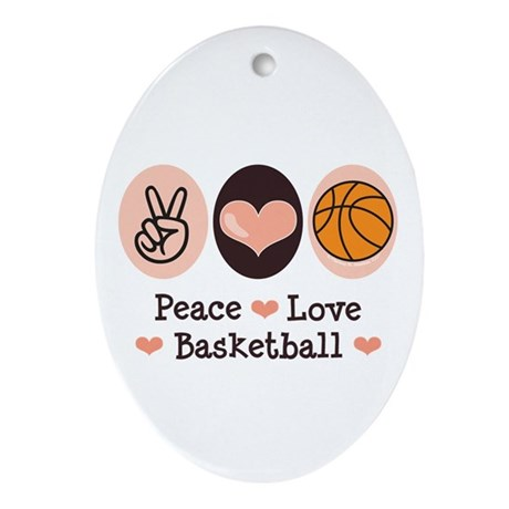 Peace Love Basketball Oval Ornament