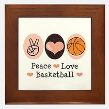 Peace Love Basketball Framed Tile