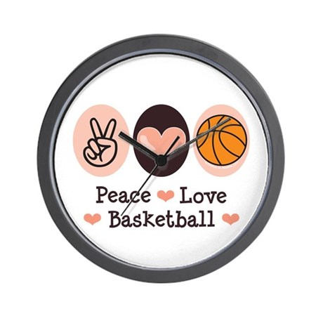 Peace Love Basketball Wall Clock