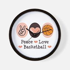 Peace Love Basketball Wall Clock