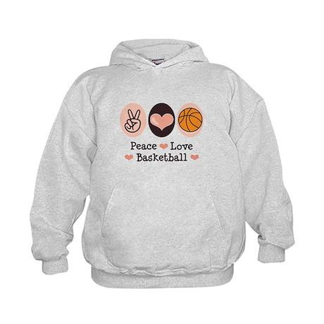 Peace Love Basketball Kids Hoodie