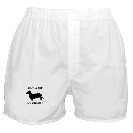 Wanna pet my wiener? Boxer Shorts