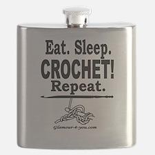 Eat. Sleep. CROCHET! Repeat. Flask