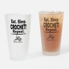 Eat. Sleep. CROCHET! Repeat. Drinking Glass