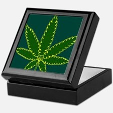 Cannabis Leaf Background Keepsake Box