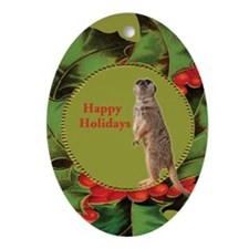 Meerkat Christmas Oval Ornament