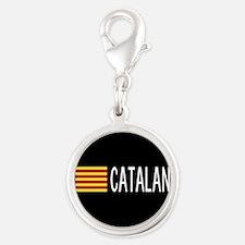 Catalunya: Catalan Flag & Cata Silver Round Charm