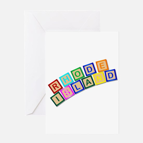 Rhode Island Wooden Block Letters Greeting Cards
