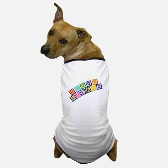 Rhode Island Wooden Block Letters Dog T-Shirt