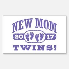 New Mom Twins 2017 Sticker (Rectangle)