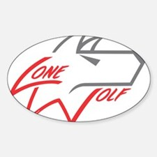 Lone Wolf logo (red/gray) Decal