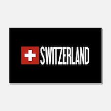 Switzerland: Swiss Flag & Switz Car Magnet 20 x 12