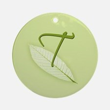 Leaves Monogram T Ornament (Round)