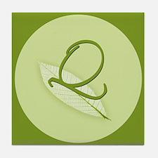 Leaves Monogram Q Tile Coaster