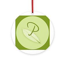 Leaves Monogram P Ornament (Round)