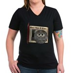 The Man in the Moon Women's V-Neck Dark T-Shirt