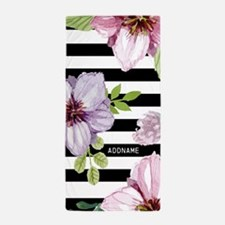 Elegant Black And White Stripes With F Beach Towel