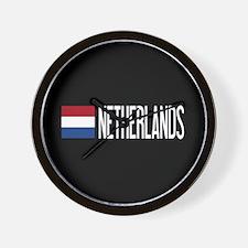 Netherlands: Dutch Flag & Netherlands Wall Clock