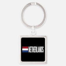 Netherlands: Dutch Flag & Netherla Square Keychain