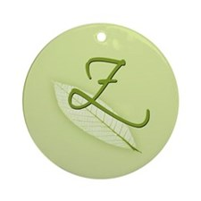 Leaves Monogram Z Ornament (Round)