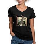 Daisy Donkey Women's V-Neck Dark T-Shirt