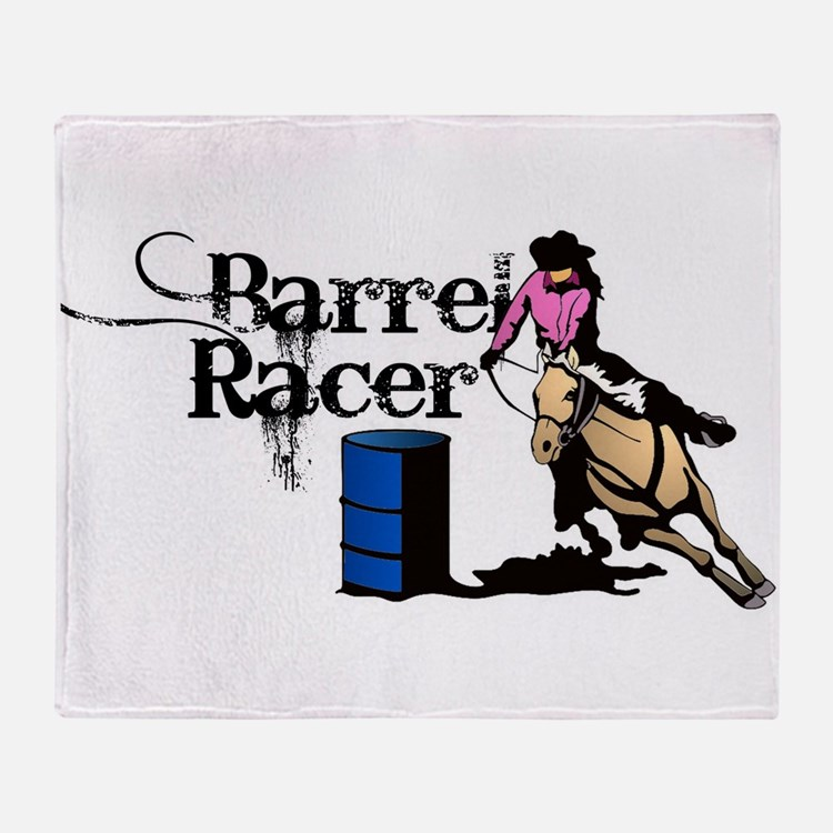 Cute Barrel racer horse Throw Blanket