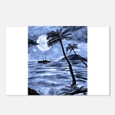 Night Palm Blue Postcards (Package of 8)