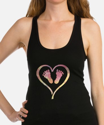 Baby Feet Heart in Watercolor Tank Top