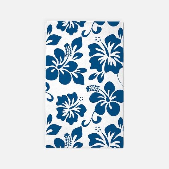 Blue Hibiscus Area Rug