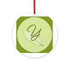 Leaves Monogram Y Ornament (Round)