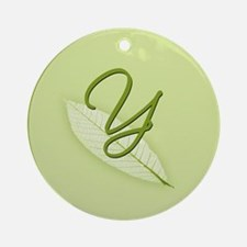 Leaves Monogram Y Ornament (Round)