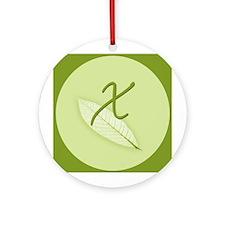 Leaves Monogram X Ornament (Round)