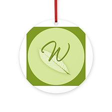 Leaves Monogram W Ornament (Round)