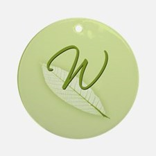 Leaves Monogram W Ornament (Round)