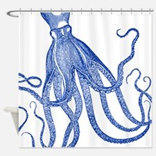 Vintage Octopus in Black and White Shower Curtain