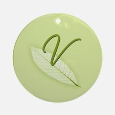 Leaves Monogram V Ornament (Round)