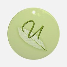 Leaves Monogram U Ornament (Round)