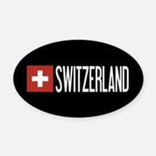 Switzerland: Swiss Flag & Switzerl Oval Car Magnet